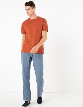 Erkek Turuncu Saf Pamuklu Yuvarlak Yaka T-Shirt