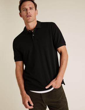 Siyah Polo Yaka Kısa Kollu T-Shirt