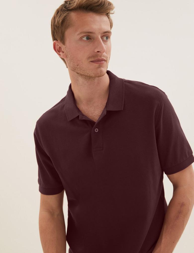 Bordo Polo Yaka Kısa Kollu T-Shirt