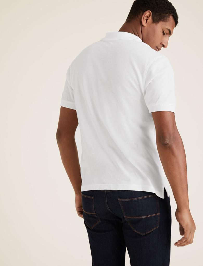 Beyaz Polo Yaka Kısa Kollu T-Shirt