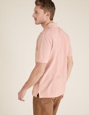 Erkek Pembe Kısa Kollu Polo Yaka T-Shirt