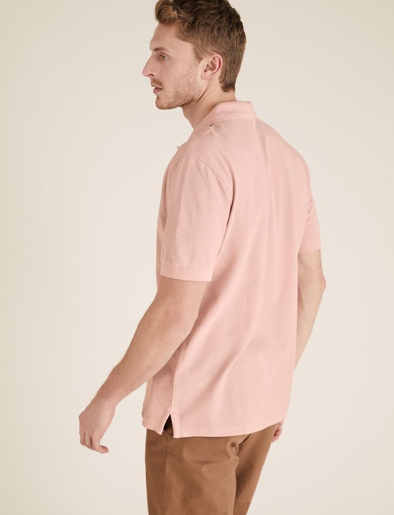 Erkek Pembe Ksa Kollu Polo Yaka  T-Shirt