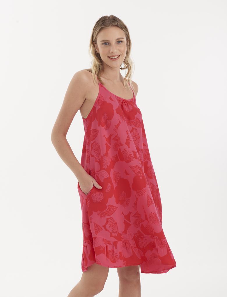 Kadın Pembe Çiçek Desenli Plaj Elbisesi