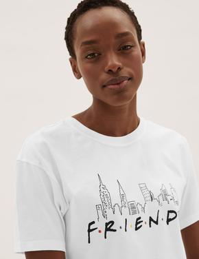 Beyaz Friends™ Slogan Baskılı T-Shirt
