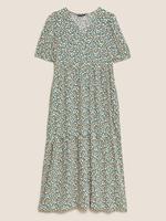 Kadın Multi Renk Desenli Midi Elbise