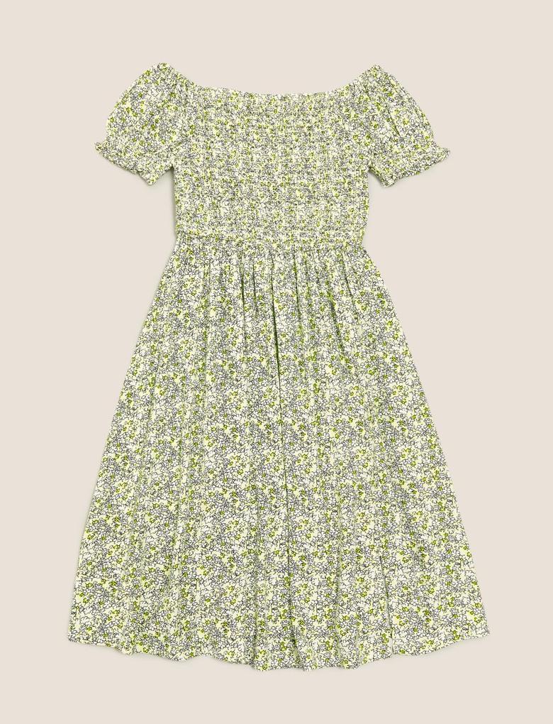 Kız Çocuk Sarı Kayık Yaka Desenli Elbise
