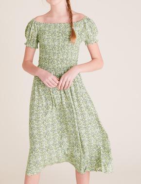 Kız Çocuk Sarı Küçük Çiçek Detaylı Elbise (6-16 Yaş)