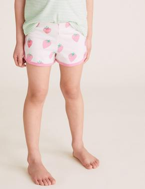 Çocuk Yeşil Saf Pamuk Çilek Desenli Pijama Seti