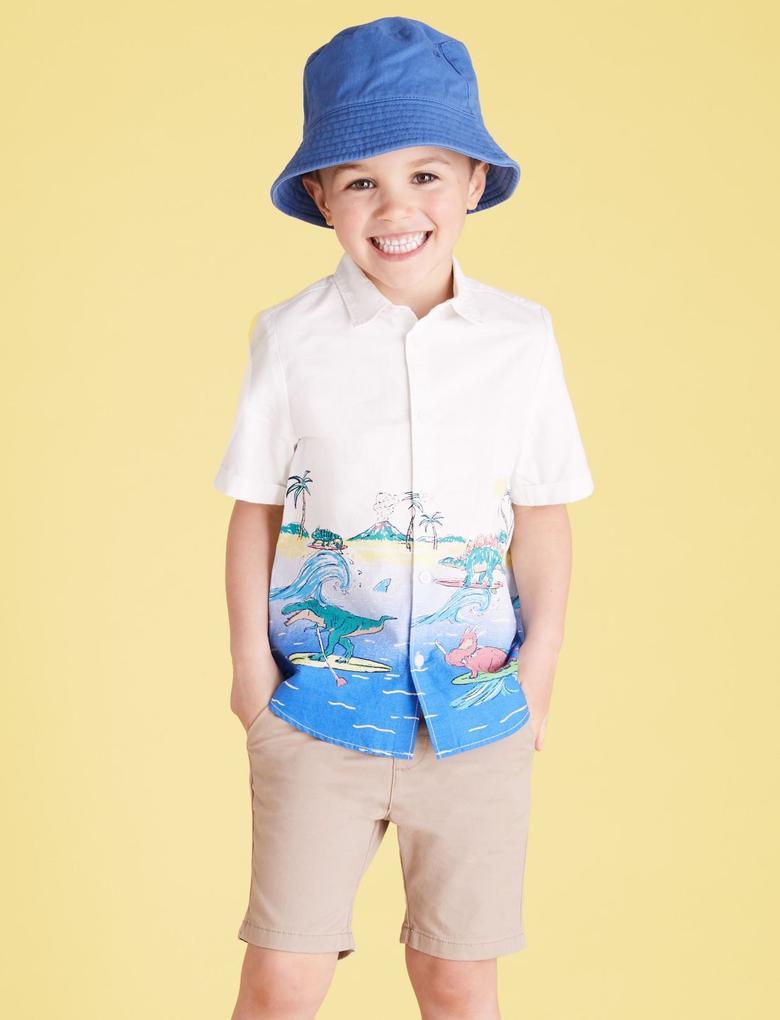 Erkek Çocuk Beyaz Saf Pamuk Dinozor Desenli Gömlek (2-7) Yaş