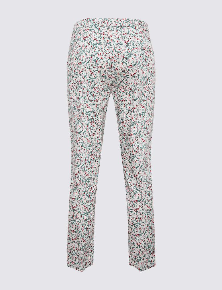 Kadın Krem Pamuklu 7/8 Slim Pantolon