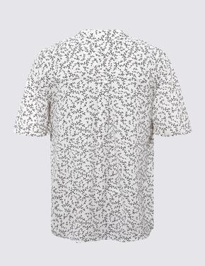 Kadın Krem V Yaka Yaprak Detaylı Kısa Kollu Gömlek
