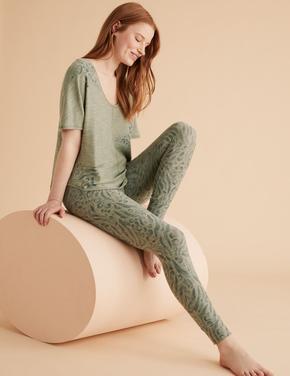 Kadın Yeşil Flexifit™ Leopar Desenli Tayt