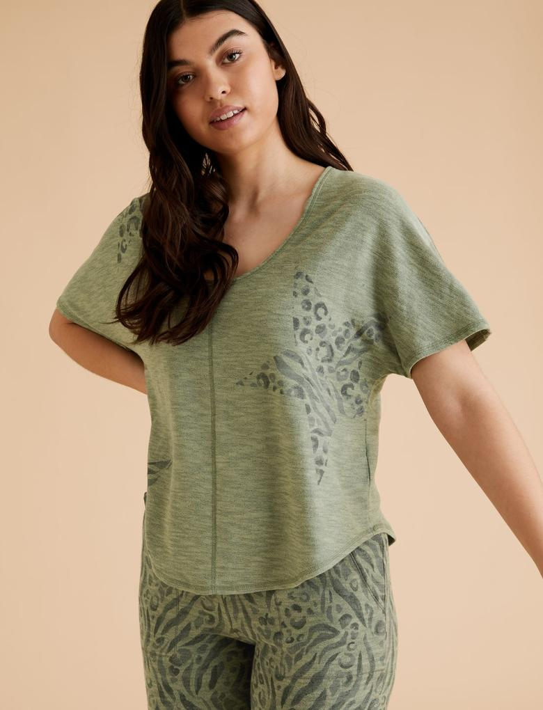 Kadın Yeşil Flexifit™ Yıldız Desenli T-Shirt