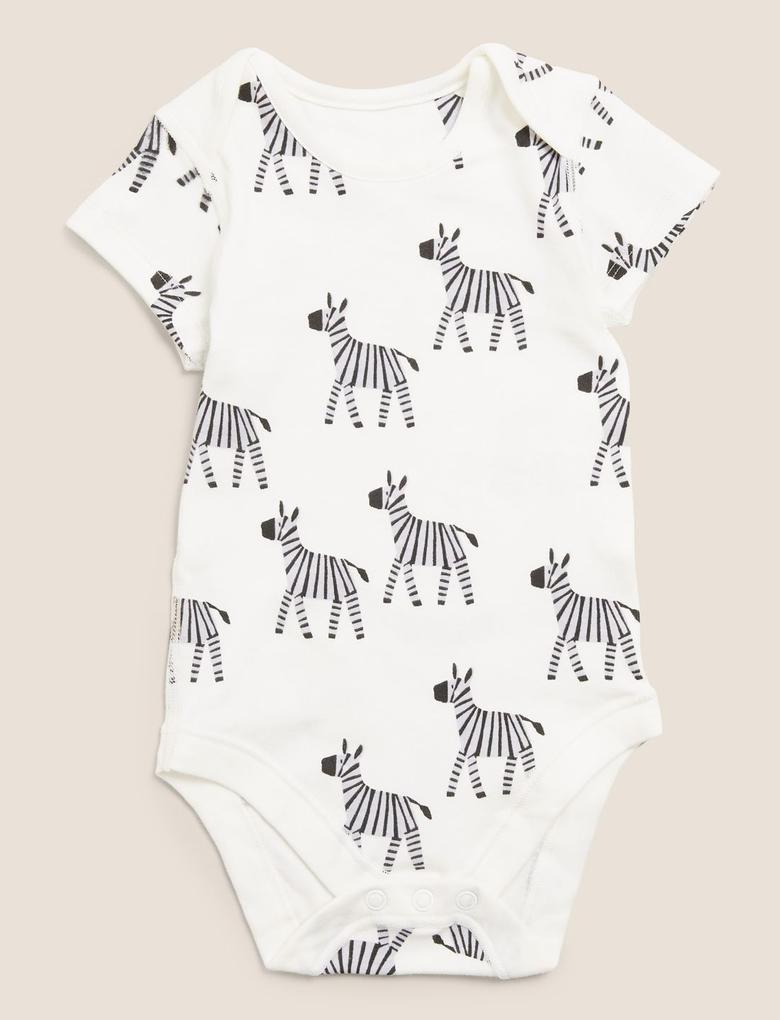Bebek Multi Renk 5'li Organik Pamuk Hayvan Desenli Bodysuit