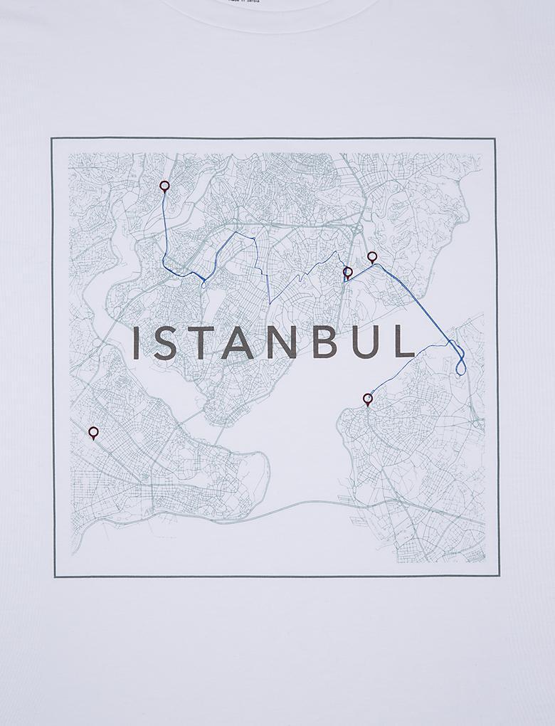 Erkek Beyaz Saf Pamuk Istanbul Harita Desenli T-Shirt