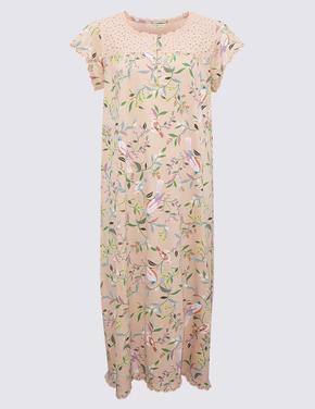 Kadın Turuncu Pamuklu Çiçek Desenli Uzun Gecelik