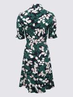 Lacivert Çiçek Desenli Mini Gömlek Elbise