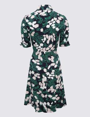 Kadın Lacivert Çiçek Desenli Mini Gömlek Elbise