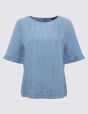 Kadın Mavi Tencel™ Kısa Kollu Bluz