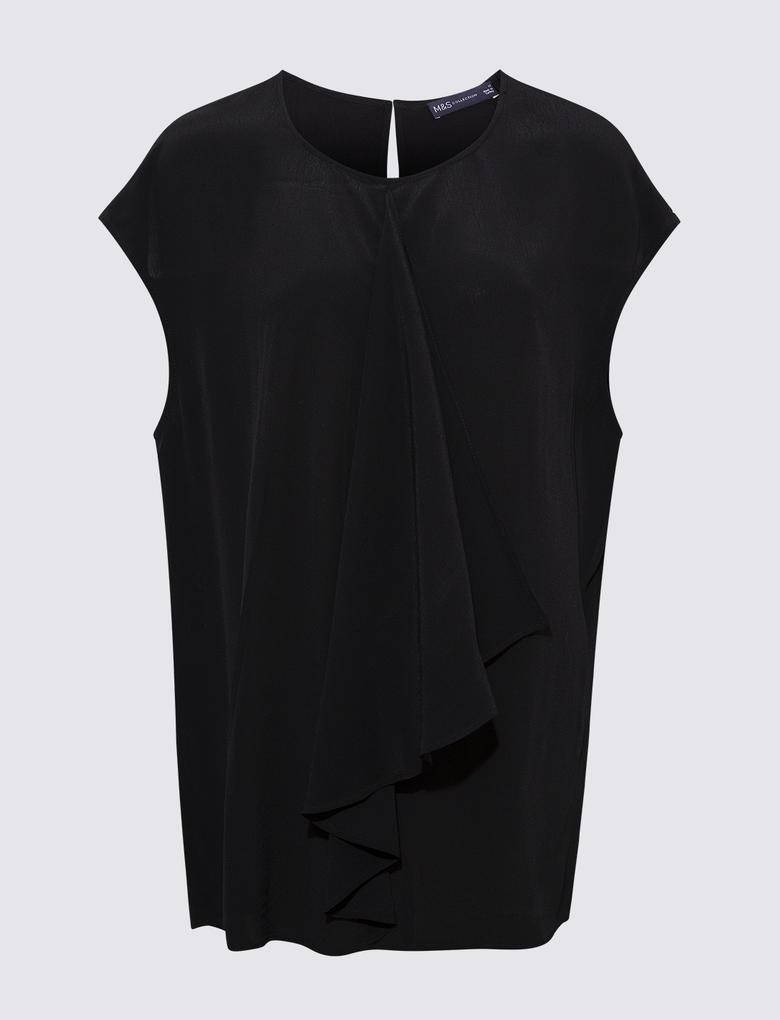 Kadın Siyah Pile Detaylı Bluz