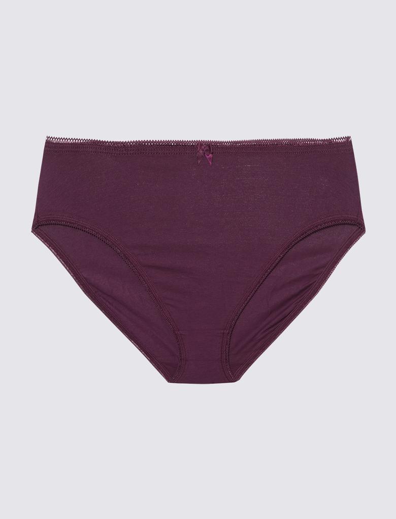 Kadın Bordo 5'li Cotton Lycra® Full Brief Külot Seti