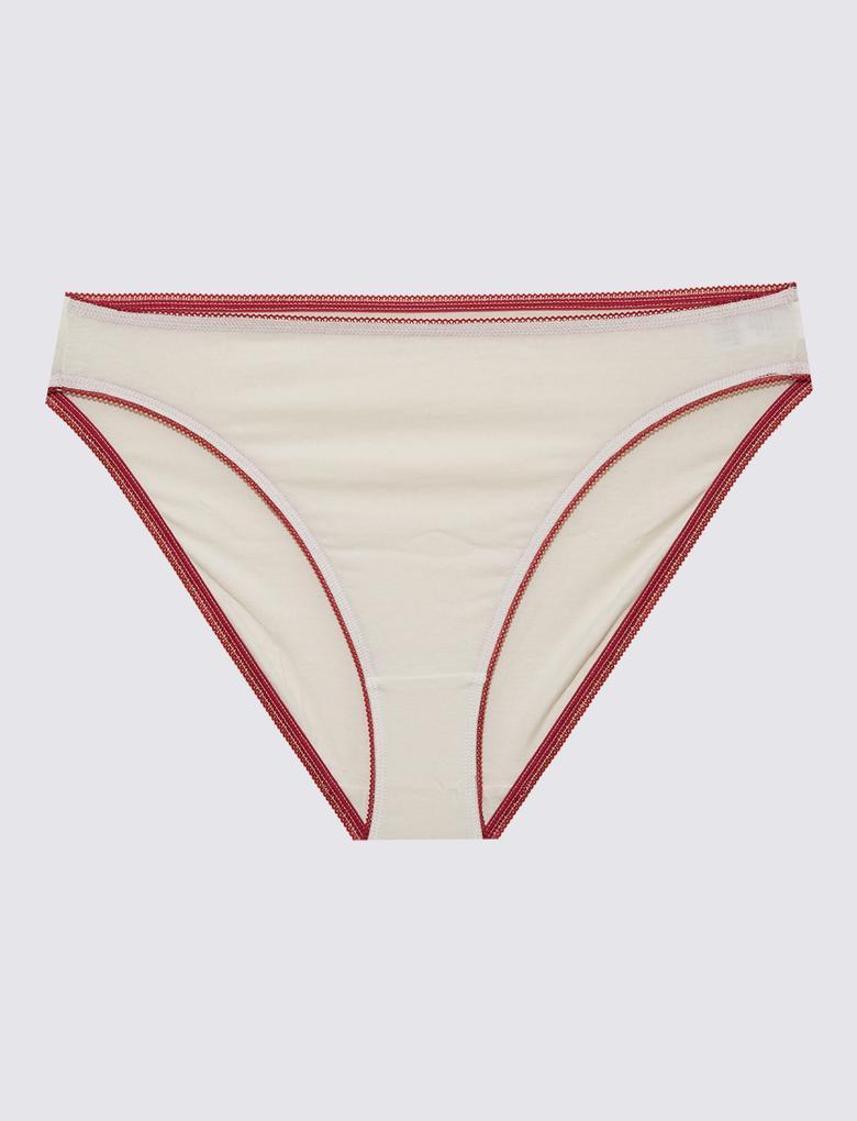 Kadın Krem 5'li Cotton Lycra® Bikini Külot Seti