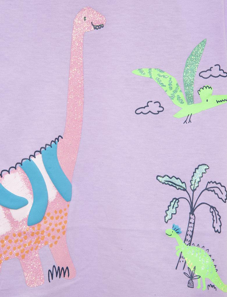 Kız Çocuk Multi Renk 3'lü Dinazor Desenli T-Shirt Seti