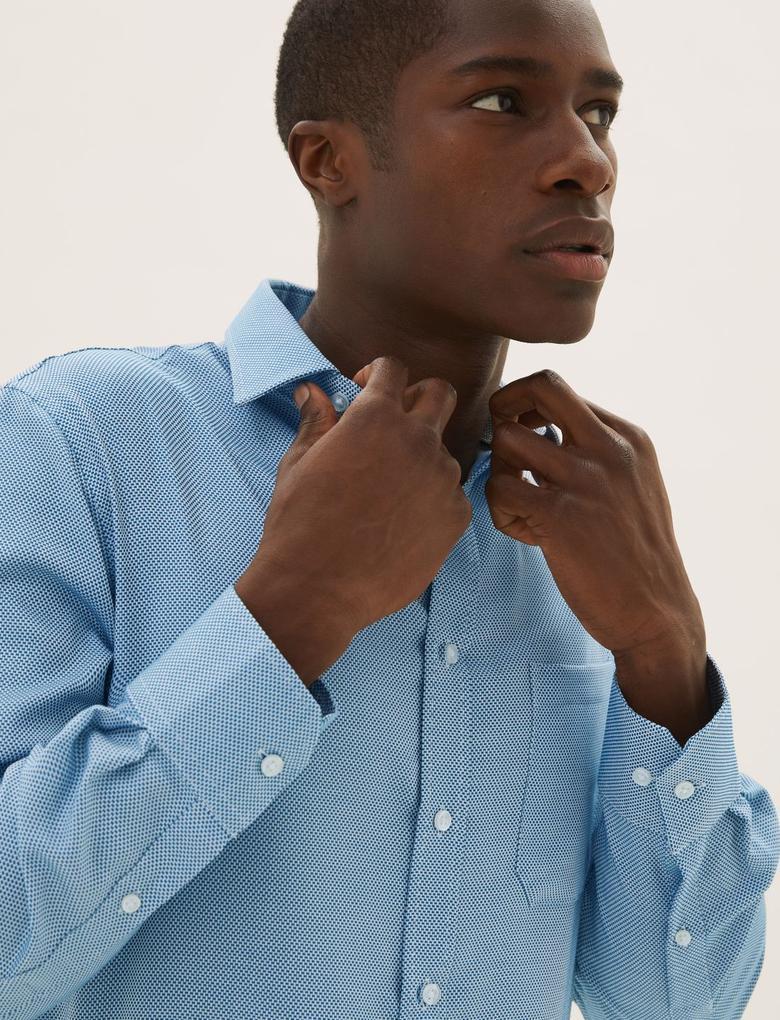 Erkek Mavi Ütü Gerektirmeyen Regular Fit Gömlek