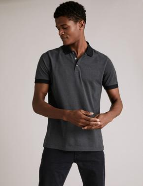 Erkek Gri Premium Pamuklu Polo Yaka T-Shirt