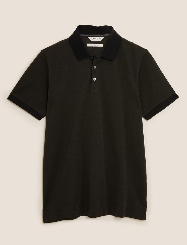 Yeşil Premium Pamuklu Polo Yaka T-Shirt