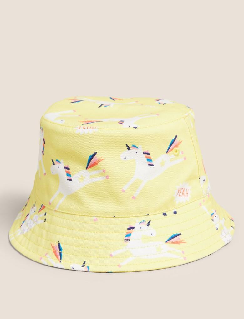 Kız Çocuk Sarı Pamuklu Unicorn Desenli Şapka