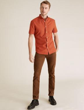 Erkek Turuncu Pamuklu Oxford Gömlek