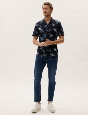 Erkek Lacivert Palmiye Desenli T-Shirt