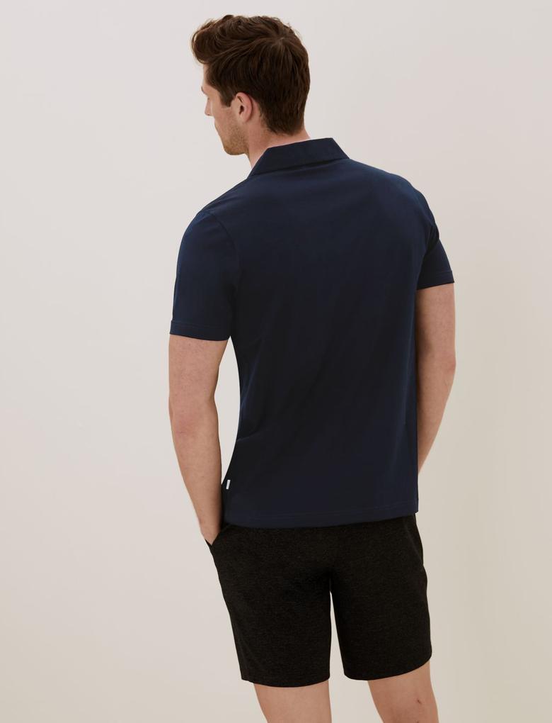Erkek Lacivert Saf Pamuklu Polo Yaka T-Shirt