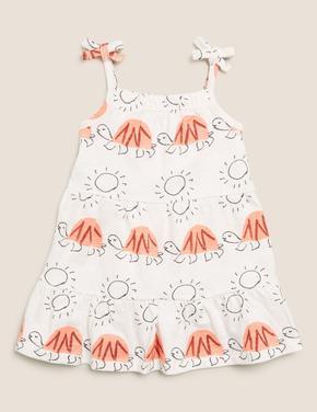 Bebek Krem İnce Askılı Desenli Elbise