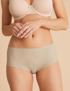 Kadın Bej 3'lü İz Bırakmayan Yüksek Belli Short Külot Seti