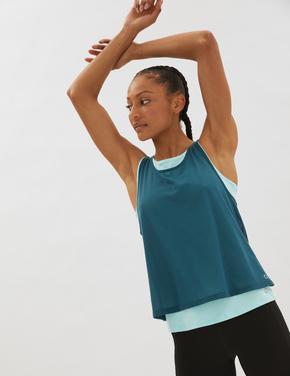 Kadın Yeşil Çift Katlı Spor T-Shirt