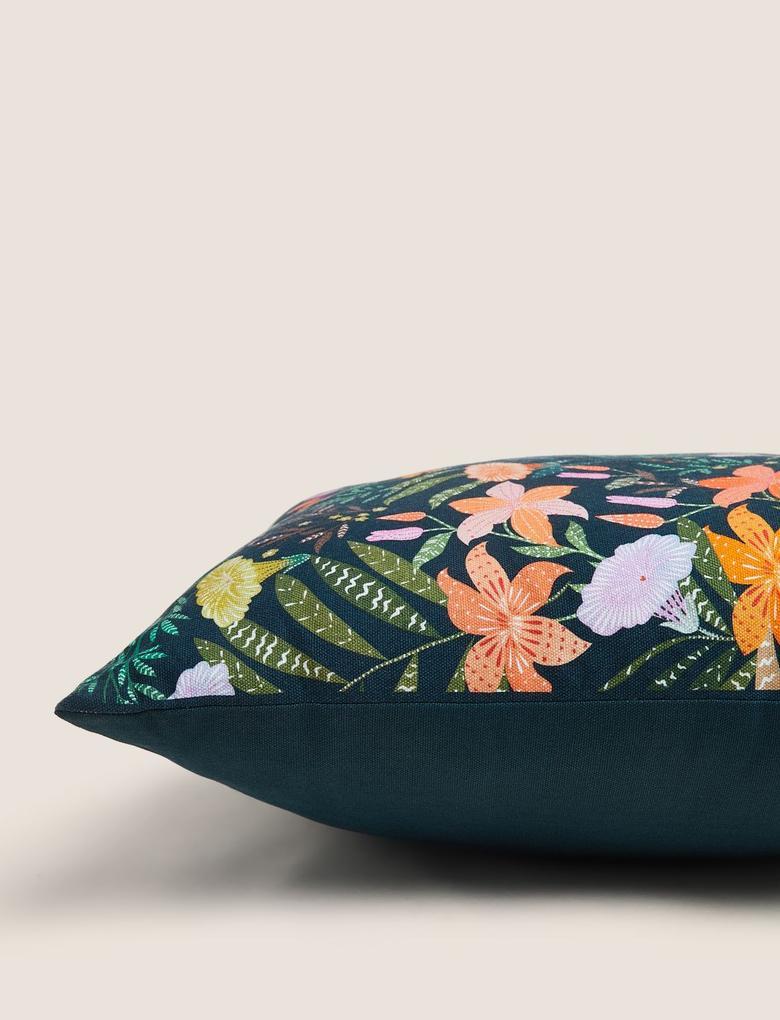 Ev Lacivert Çiçek Desenli Yastık