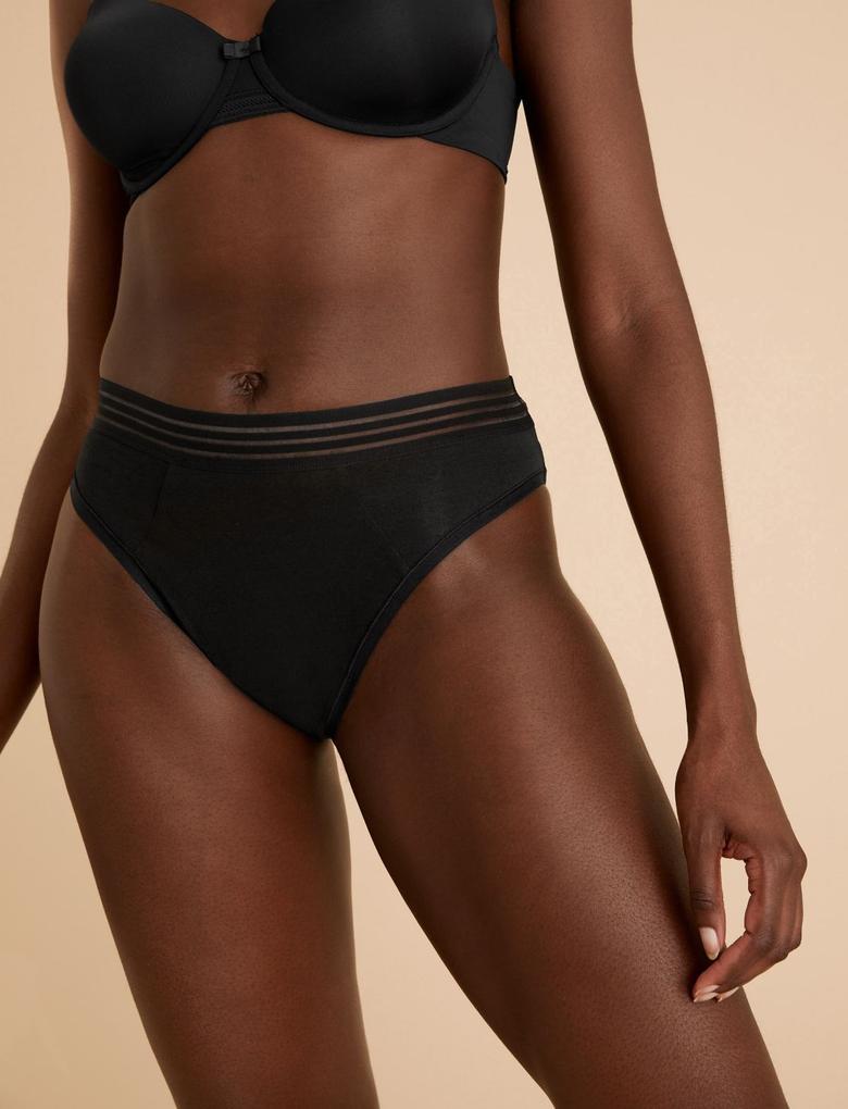 Kadın Siyah Sızıntı Önleyici High Leg Külot