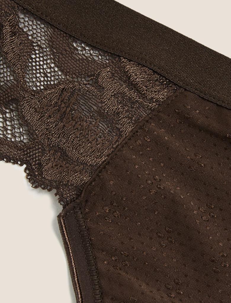 Kadın Kahverengi Dantelli Bikini Külot