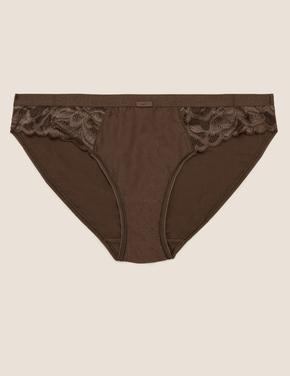 Kadın Kahverengi Dantel Detaylı Bikini Külot