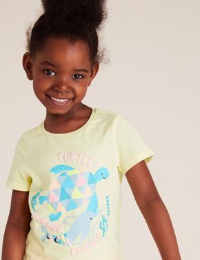 Kız Çocuk Sarı Pamuklu Grafik Desenli T-Shirt