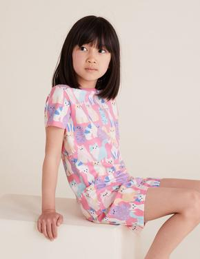 Çocuk Multi Renk Pamuklu Kedi Desenli Pijama Takımı