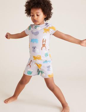 Çocuk Gri Pamuklu Desenli Pijama takımı