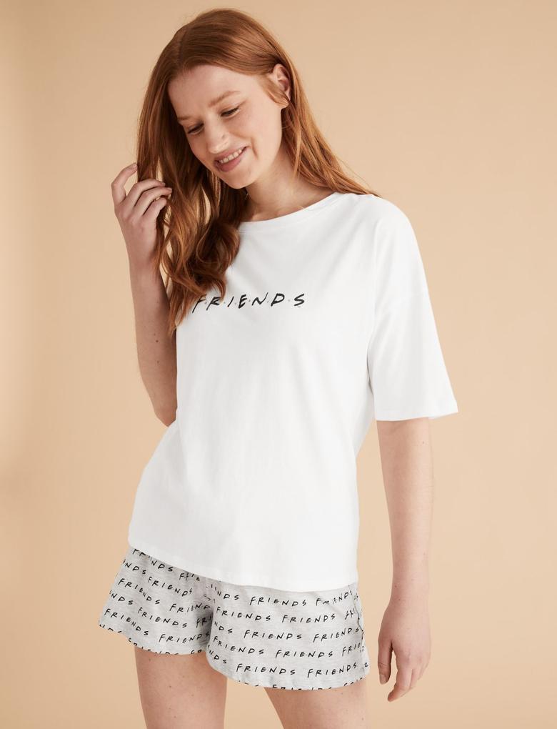 Kadın Beyaz Friends™ Slogan Baskılı Pijama Takımı