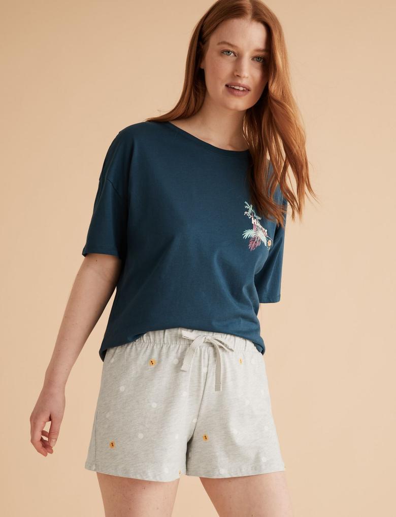 Kadın Gri Pamuklu Desenli Pijama Şort