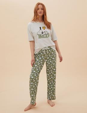 Kadın Yeşil Snoopy™Pijama Takımı