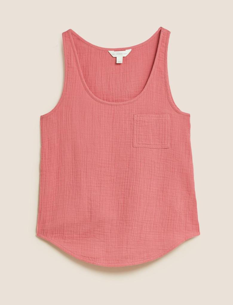 Kadın Pembe Müslin Askılı T-Shirt