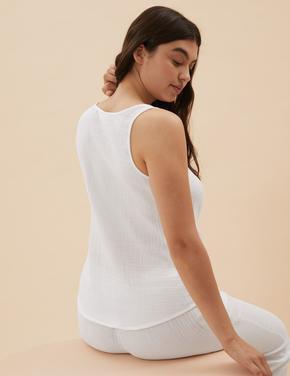 Kadın Beyaz Müslin Askılı T-Shirt