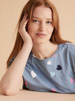 Kadın Mavi Kalp Desenli Pijama Takımı